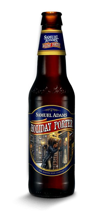 Cerveja Samuel Adams Holiday Porter, estilo Porter, produzida por Boston Beer Company, Estados Unidos. 5.8% ABV de álcool.