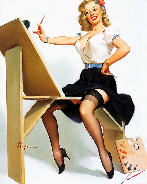 #Gil #Elvgren #classic #pinup #cheesecake #vintage #classy #painting #sexy #iconic #suspenders #garters