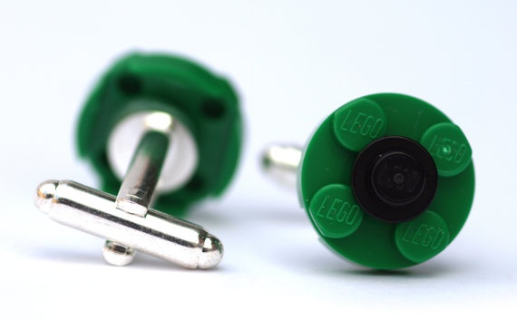 Green and black Lego round plate cufflinks by brickheads on Etsy, £6.00