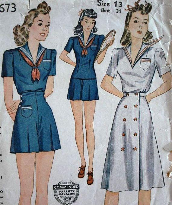 Bertie - 1940s WWII Era Vintage Style 3 Piece Sailor Girl Romper Playsuit & Day Dress - Pattern