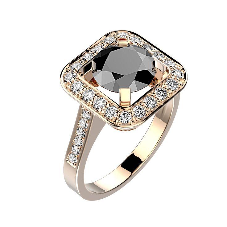 Agrandir Bague Anastasia - Or rose 18 cts, Spinelle noir et Diamants 1