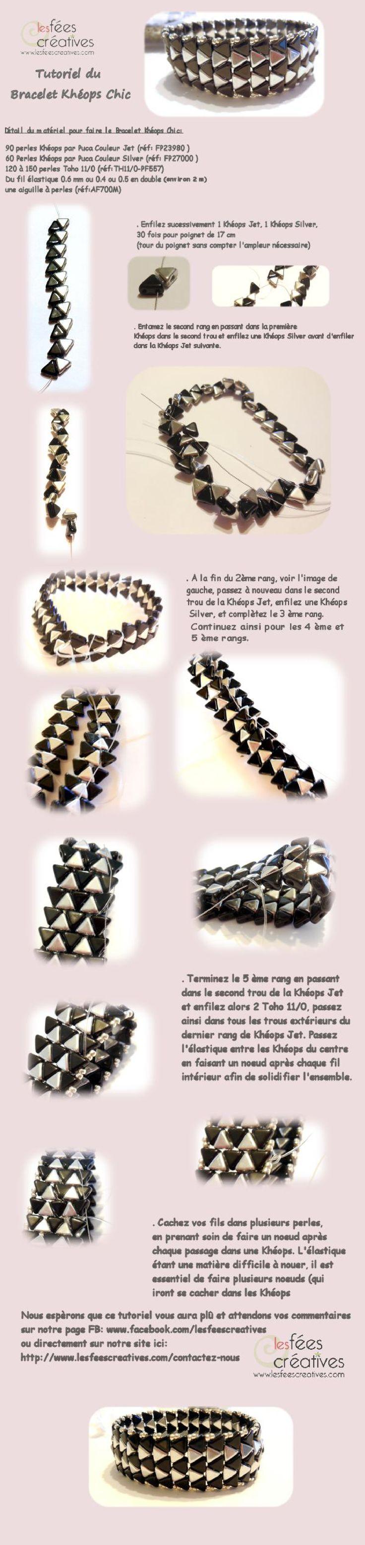 Infographie Tutoriel du Bracelet Khéops Chic version Fées Créatives