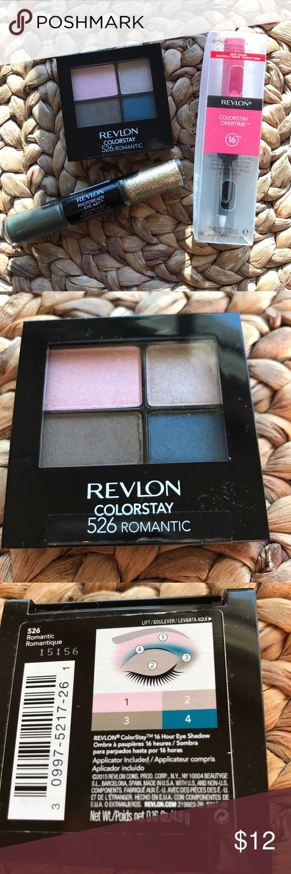 🆕 Revlon Bundle✨ New, all unopened Revlon set / Includes: Colorstay eyeshadow quad in 526 Romantic, Colorstay 16hr Overtime lip color & gloss in 490 For Keeps and Photoready Eye Art, lid/line/lash in 080 Dessert Dazzle✨ No Trades Revlon Makeup