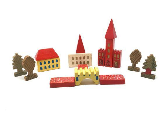 Vintage German Dusyma Toy Blocks, Village, Putz, Wood, Building, 16 Pieces,Trees, c1960