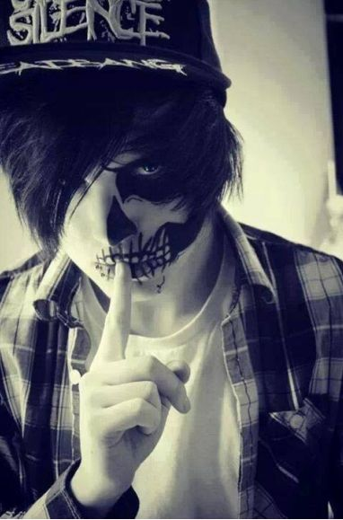 (OPEN RP I'm him) My mask flickered, skull, human, skull. I had caught (his?her?) attention. I pressed my finger to my lips in a signal of silence before disappearing out the back door and into the alley.