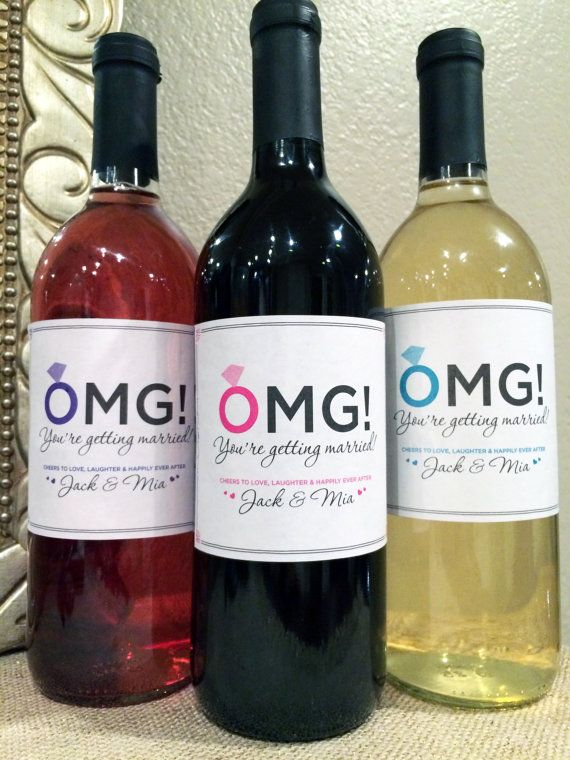 OMG You're Getting Married Label - Engagement Party Labels - Congratulations to Bride & Groom - Wedding Gift Party Favors or Engagement Gift
