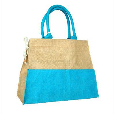 Blue Colour Burlap Fabric Shopper Bag with Front Pocket Detail