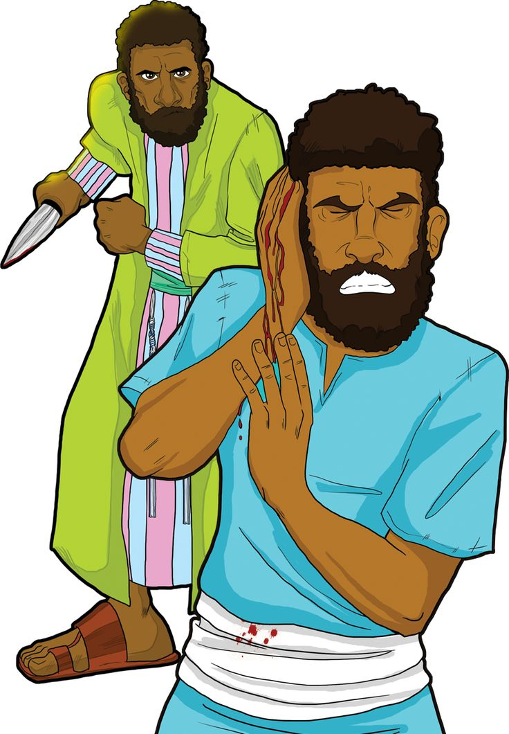 """Peter in Gethsemane. """"Then Peter, having a sword, drew it and struck the high priest's servant and cut off his right ear."""" (John 18:10)"""