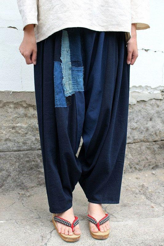 アンティークリネン×染×古布 サイドギャザー ボリュームサルエルパンツ(2トーン青藍色) [PANTS-232]