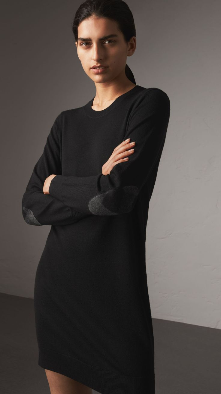 Check Elbow Detail Merino Wool Sweater Dress in Black - Women | Burberry