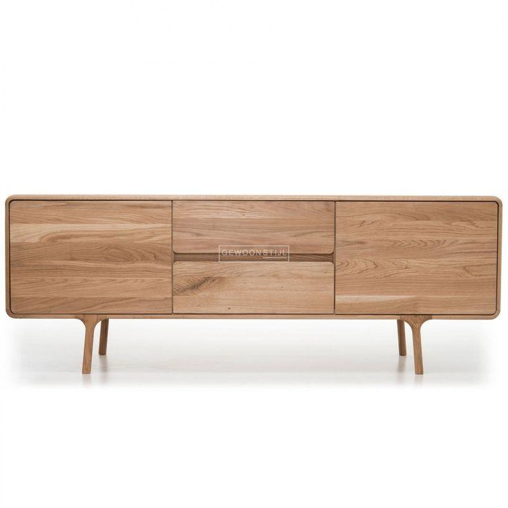 gazzda fawn sideboard dressoir kast massief eikenhout design meubel ronde vormen
