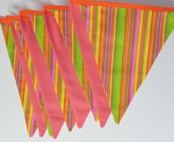 Bunting Fiesta banner Party 9 flags Garland by Elefanteblanco, $15.90