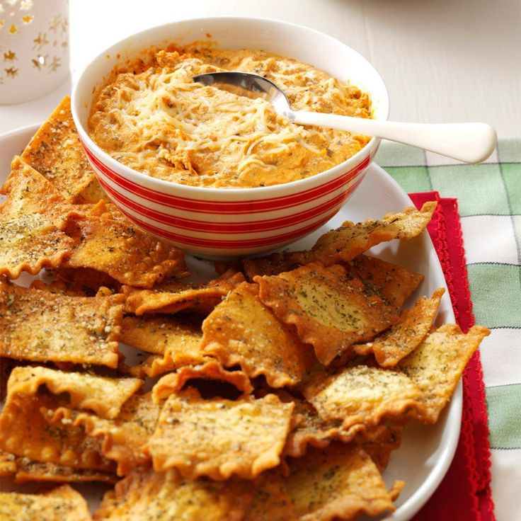 Lasagna Dip Recipe -My lasagna noodle chips turned out great and are out-of-this-world crispy. And the dip truly tastes like rich, cheesy Italian-American lasagna. —Linda Cifuentes, Mahomet, Illinois