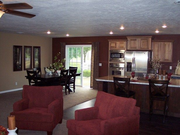 I Like The Open Kitchen To Dining Room Don T Like Fridge Next To Stove Mobile Homes Remodeling Ideas