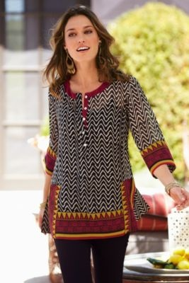 Tribal Tunic - Tunic Top, Chiffon Tunic, Geometric Print Top, Elbow Sleeve Blouse | Soft Surroundings