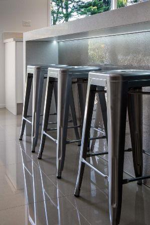 Breakfast bar. Slump glass splashback. Tolix stool www.thekitchendesigncentre.com.au