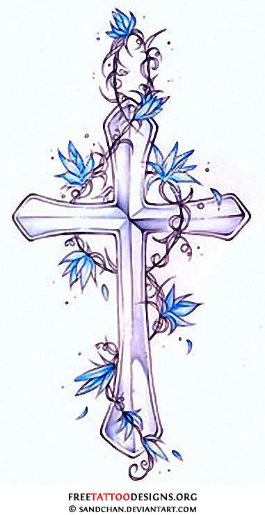 Cross and blue flowers tattoo design