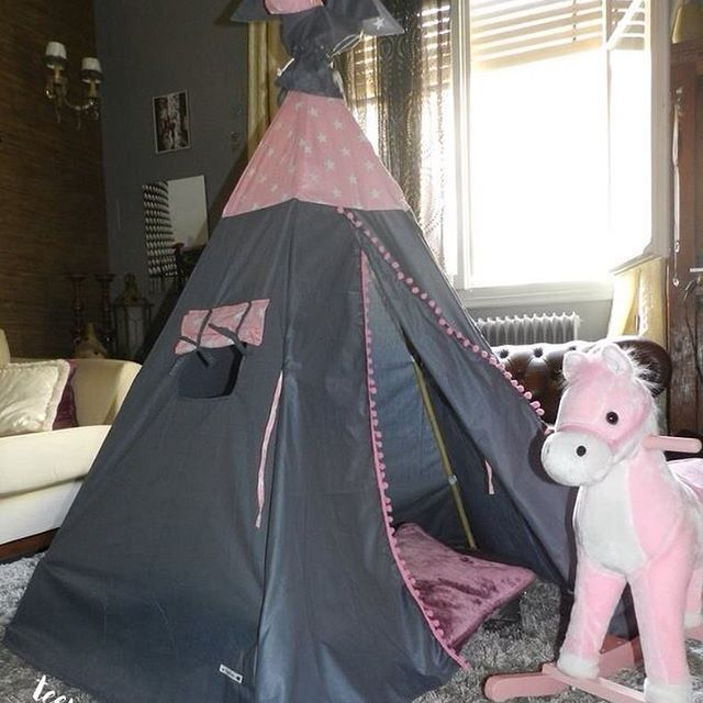 What a #teepee! 😍💖by #teepeelicious of course 😉 #unique #customade #tailormade #handmade #madeingreece #nurserydesign #playroom #kidsroom #eventdesign #grey #pink #glamping #pompoms #girly #vintage #kidsdecor