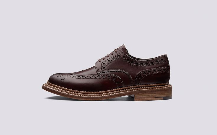 Mens Gibson Brogue | Archie in Bordeaux Hand Painted Calf Leather with a Triple Welt Leather Sole | Grenson Shoes - Side View