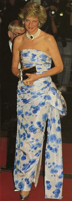 Princess Diana's statuesque figure carries off this floral print gown wonderfully.