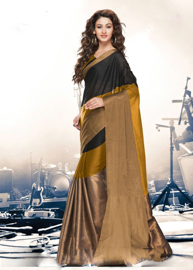Get Multicolor printed cotton silk saree with blouse.