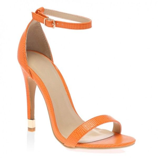 Matilda Orange Heeled Sandal (44 CAD) ❤ liked on Polyvore featuring shoes, sandals, heeled sandals, high heel sandals, summer shoes, high heeled footwear and orange heeled sandals