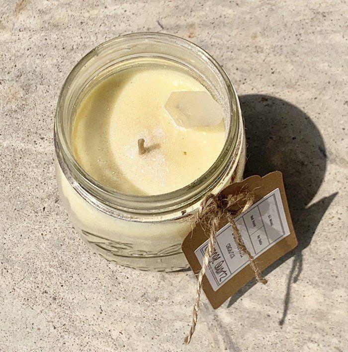 Orange quartz crystal candle in vintage mason jar 100% soy wax