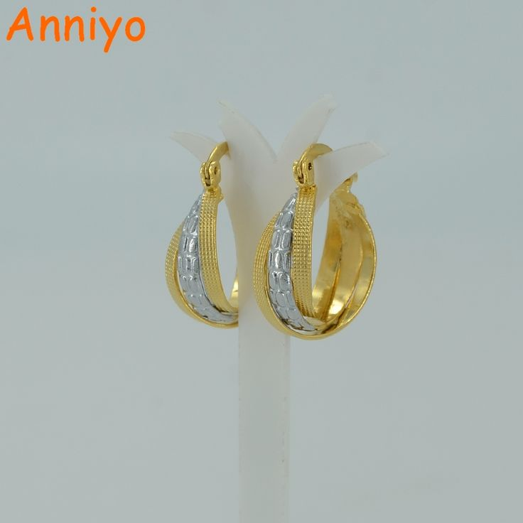 Anniyo Mix Gold Color Earrings for Women,Two Tone Earing Middle East Arab Jewelry Africa Earring for Girl #015102