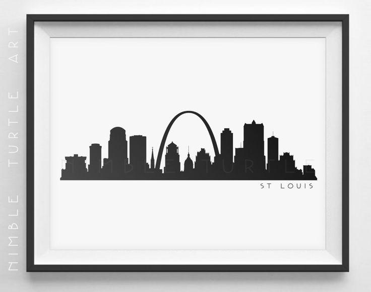 St Louis Skyline Silhouette Printable by NimbleTurtleArt
