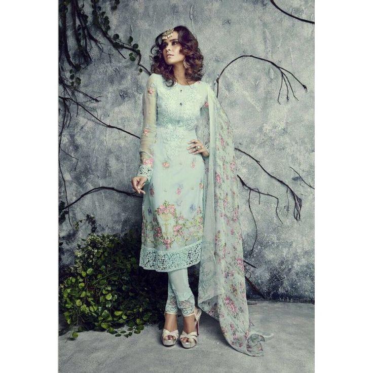 Designer Georgette Sky Blue Salwar Kameez - 4002-D