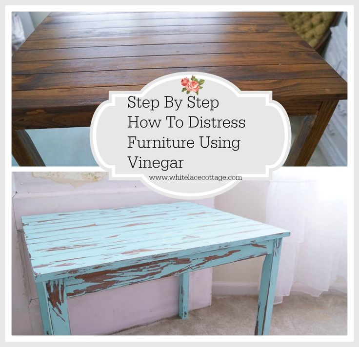 How To Distress Furniture With Vinegar step by step tutorial! This is one of the best ways to distress furniture and no sanding is required!!!! www.whitelacecottage.com