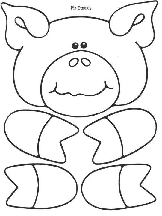 Pig puppet Coloring Pages / Applique Paper bag puppets, Farm