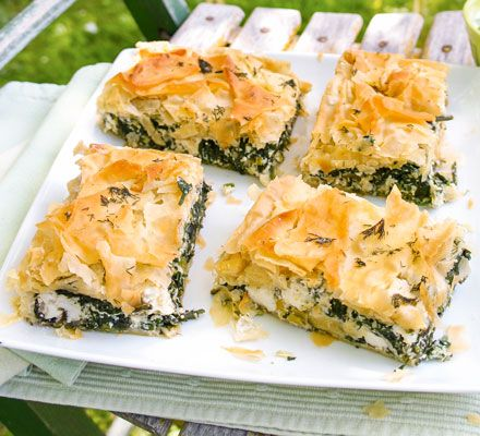 This traditional Greek spinach and feta cheese pie gets a healthier makeover - we've slashed the fat, salt and calories