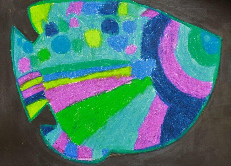 Sarah 7yrs Fish in oil pastel