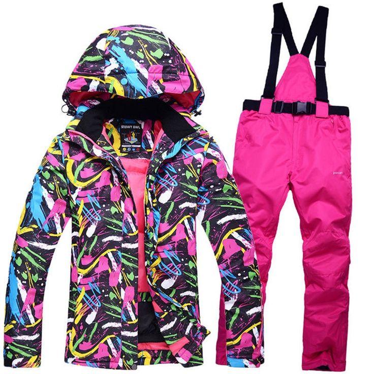 61.48$  Buy here - New Cheap Snow suit sets Women Snowboard Clothes Waterproof Windproof -30 Warm Winter Coat Ski suit sets Jackets + Bib pants  #magazineonline