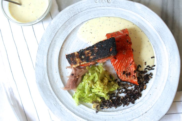 Grilled Sockeye Salmon With Dijon Aioli Amp Charred Cabbage Almost Properly Fish Recipes