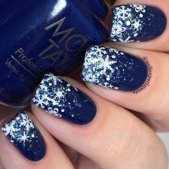 snowflake nails; acrylic snowflake nails; blue snowflake