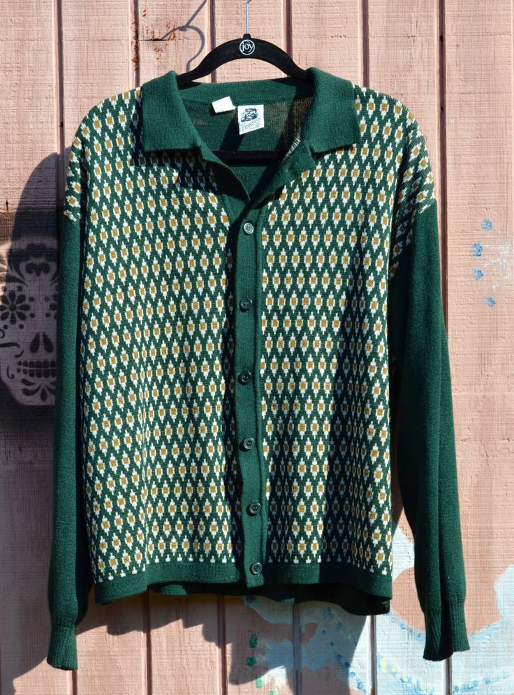 Green waistcoat mens large sweater jumper handmade vintage 70s sleeveless top green gift winter fall knit clothing mens plus size cardigan. LDm068ajo