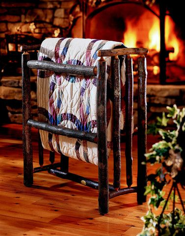 This charming quilt rack made by Old Hickory Furniture Co. from hickory logs is a beautiful rustic accent for any home.  For more details and to shop my boutique visit this link: http://lizann.myshopify.com/collections/rustic-furnishings/products/old-hickory-quilt-rack