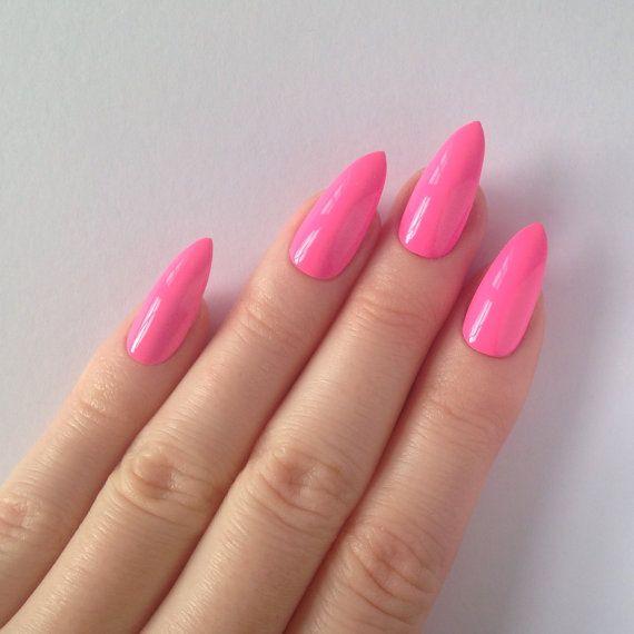 Neon Pink Stiletto nails Nail designs Nail by prettylittlepolish