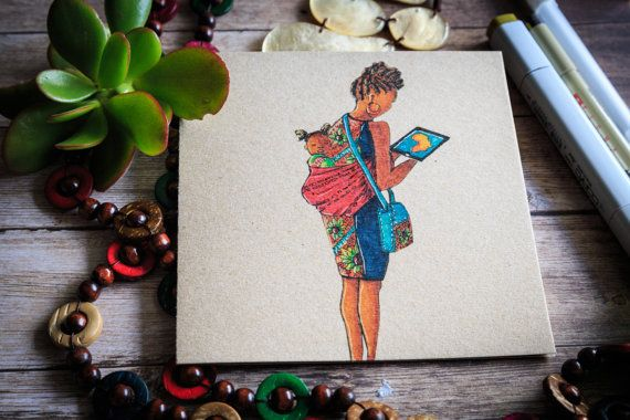 Modern African Mother greeting card and print ( hand illustrated) $6 on etsy