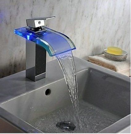 Cascading Waterfall Chrome LED Bathroom Faucet