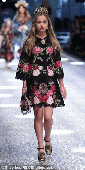 dailymail:  Lady Amelia Windsor, dagughter of the Earl and Countess of St. Andrews and granddaughter of the Duke and Duchess of Kent, modeled for Dolce & Gabbana during its recent Paris showing, March 2017