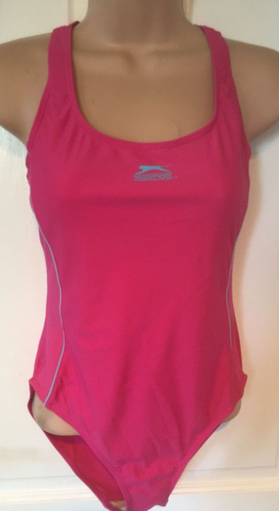 Slazenger Swimming Costume Size 12 Pink Strappy Breathable Lining