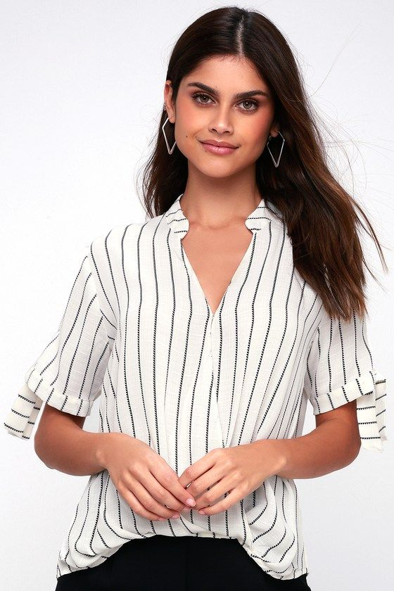 f32d627bb1066 The LUSH Brees Black and White Striped Tie-Sleeve Surplice Top will do the  trick! Ultra-light and breezy top is shaped from semi-sheer woven fabric  with a ...
