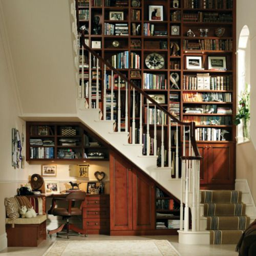 Bookcase Wall Going Up Stairs