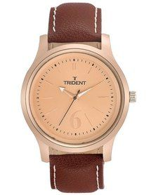 Trident Qatar watch - style and simplicity practically oozes from this piece! Find out all you need to know at http://mytrident.co.za/products/qatar-mens then give in to the temptation at http://www.zando.co.za/Trident-Qatar-Mens-Rose-Gold-Watch-Brown-Leather-120524.html