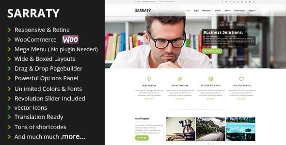 Sarraty – Retina Responsive Multi-Purpose WordPress Theme. Sarraty is multi-purposeresponsive and retina ready WordPress theme with tons of features and elements to help you build your website in minutes.