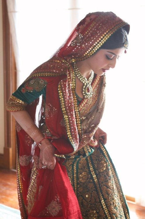 Love the gota work and embroidery on her dress!!