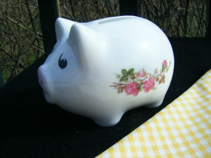 Vintage Look Victorian Chic Roses Shabby Pink Flowers PIGGY BANK Pig Money coins